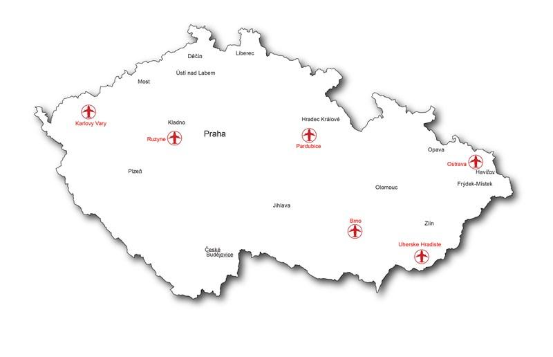 tsjekkia kart Flyplasser i tsjekkia kart   Tsjekkia flyplasser kart (Øst Europa  tsjekkia kart