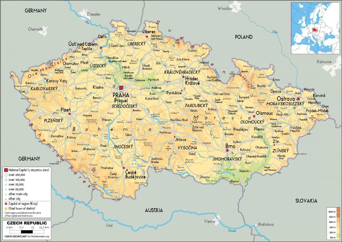 østerrike kart Østerrike tsjekkia kart   Kart over Østerrike og tsjekkia (Øst  østerrike kart