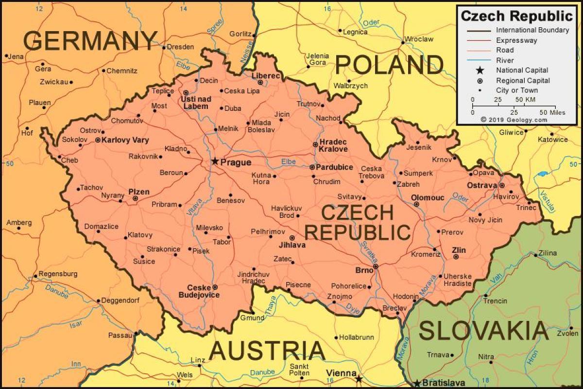 tsjekkia kart Tsjekkia kart med byer   Kart over tsjekkia med byer (Øst Europa  tsjekkia kart