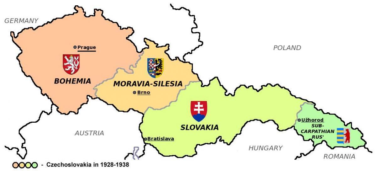 tsjekkoslovakia kart Tsjekkoslovakia kart 1938   Kart av Tsjekkoslovakia I 1938 (Øst  tsjekkoslovakia kart